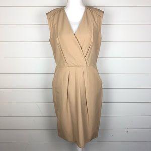 Ann Taylor Sleeveless V-Neck Khaki Dress